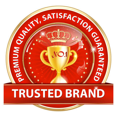 Trusted brand, Premium quality, because we care - luxurious shiny golden red icon / label for retail business