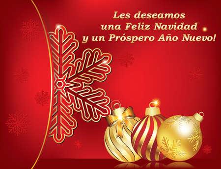 nuevo: Spanish seasons greetings - Christmas & New Year card (Les deseamos Feliz Navidad y Feliz Ano Nuevo) - We wish you Merry Christmas and Happy New Year! Print colors used. Size of custom greeting card