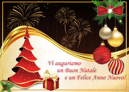 italian winter holiday greeting card merry christmas and happy new year italian language - Merry Christmas And Happy New Year In Italian
