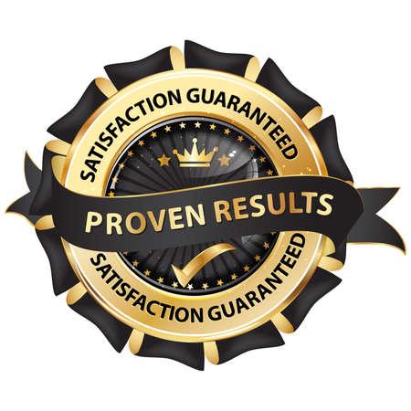 proven: Proven results, satisfaction guaranteed - elegant ribbon  stamp  sticker. Stock Photo