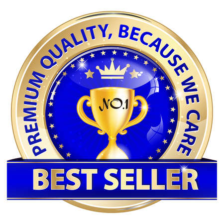 business for the middle: Best seller, Premium quality, because we care - luxurious icon  sticker  stamp for retail industry. Contains a golden champions cup in the middle. Business icon Stock Photo