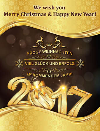 German greeting card: Merry Christmas and Happy New Year: Frohe Weihnachten und ein Gluckliches Neues Jahr, for winter holiday. Print colors used. Custom size of a postcard