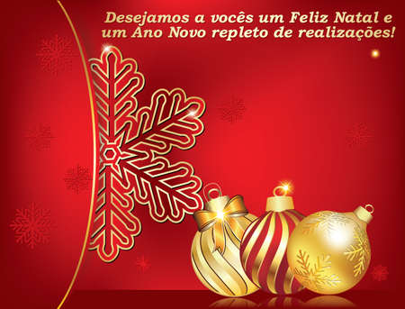 We wish you a Merry Christmas and a Happy New Year (Portuguese language) - greeting card with snowflakes and Christmas baubles. Print colors used