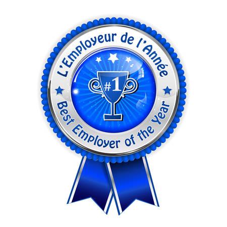 distinction: Best employer of the year (French language: Lemployeur de lannee) - business elegant icon  ribbon award distinction for companies.