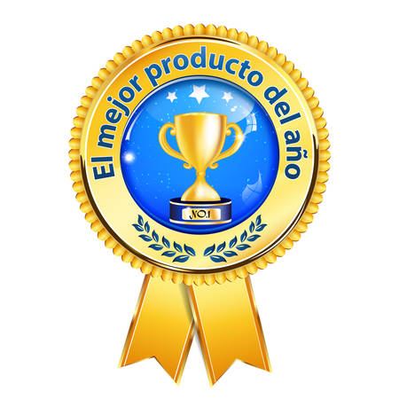 The best product of the year - Spanish language (El mejor producto del Ano) - award ribbon with Champions cup and laurel wreath