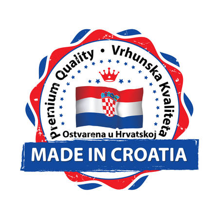 Made in Croatia grunge printable label with map. Grunge label - Made in Croatia, with Croatian flag colors and map. CMYK colors used.
