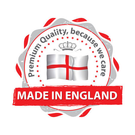 because: Made in England, Premium Quality, because we care - grunge red stamp. Contains the Englands flag. Print colors used