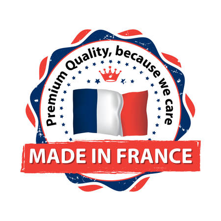 containing: Made in France. Premium Quality, because we care - grunge label containing the map and flag colors of France. Print colors used Illustration