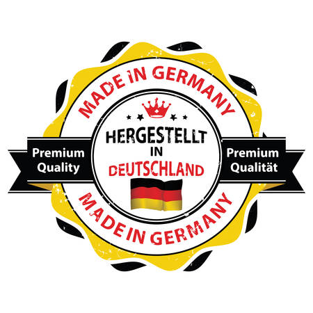 deutschland: Made in Germany. Premium Quality (German text translation of: Hergestellt in Deutschland. Premium Qualitat ) - grunge ribbon  stamp for selling goods, products made in Germany. Print colors used.
