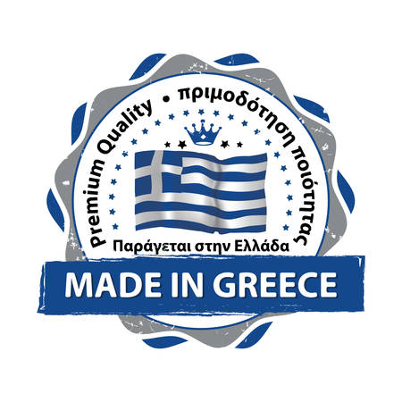 made in greece stamp: Made in Greece, Premium Quality ( Text in English and Greece languages) business grunge stamp with the Greek flag colors. Suitable for retail industry. Print colors (CMYK) used.