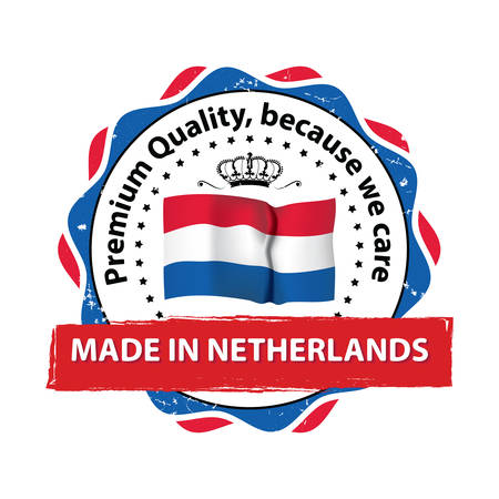 Made in Netherlands, Premium Quality, because we care - business grunge stamp ribbon with the Dutch flag colors. Print colors used. Illustration