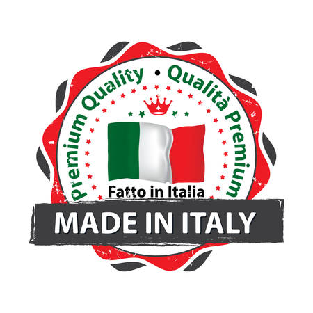 Made in Italy, Premium Quality business grunge stamp with the Italian flag colors. Suitable for retail industry. Print colors (CMYK) used. 일러스트
