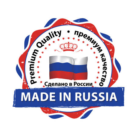 Made in Russia, Premium Quality (translation of the Russian text) - stamp with Russian flag colors.