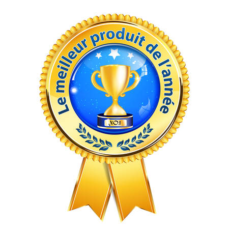 blockbuster: The best product of the year (Le meilleur produit de lannee) - French business award ribbon Illustration