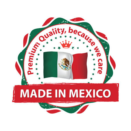 Made in Mexico, Premium Quality, because we care - business commerce elegant grunge label  stamp. with the Mexican flag on the background. Suitable for retail industry. Print colors used