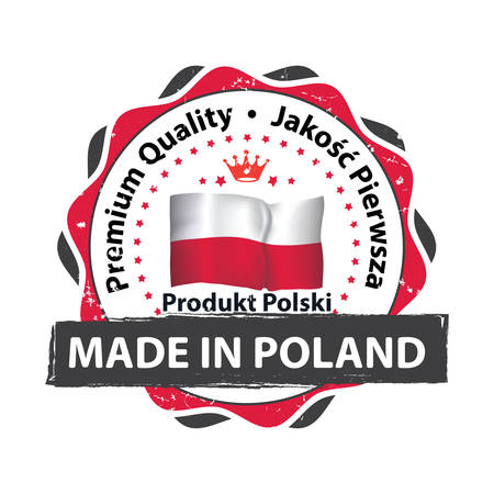 Made in Poland. Premium Quality (Polish text) - grunge ribbon  stamp for selling goods, products made in Poland. Print colors used.