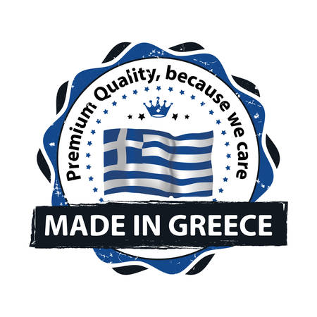 Made in Greece, Premium Quality, because we care - stamp  label  icon with the map and flag of Greece. Print colors used Illustration