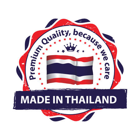 Made in Thailand, Premium quality, because we care - icon with Thailand' s flag in the background. Print colors used
