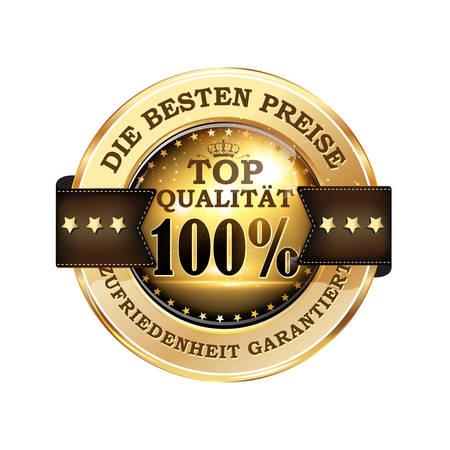 The best price, top quality, satisfaction guaranteed (German language: Die Besten Preise, Top Qualitat, Zufriedenheit Garantiert) - luxurious business icon / button in German language Ilustracja