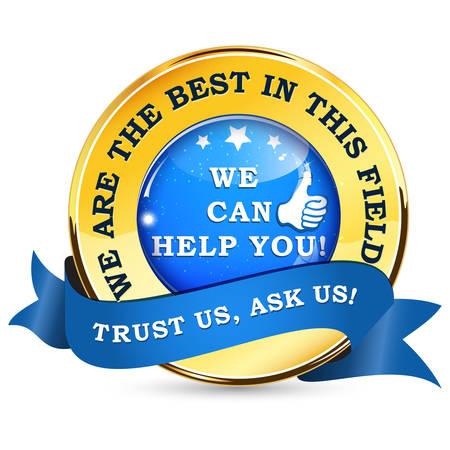 ビジネス専門家リボン: 我々 はこの分野で最高です。私たちはあなたを助けることができます。私たちの信頼、私たちを求める!-光沢のあるコンサル