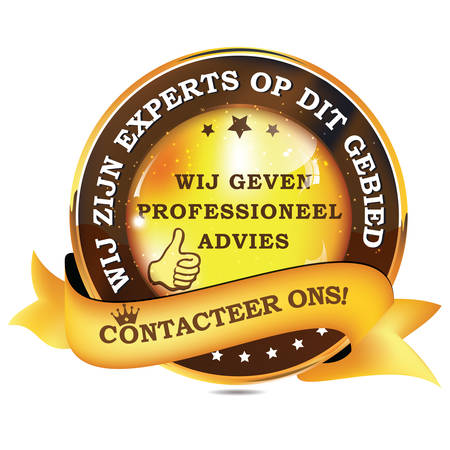 We are experts in this field. We give you professional advice. Contact us! - Dutch language: Wij zijn experts op dit gebied. Wij geven proffesioneel advies. Contacteer ons! - shiny business ribbon. Illustration
