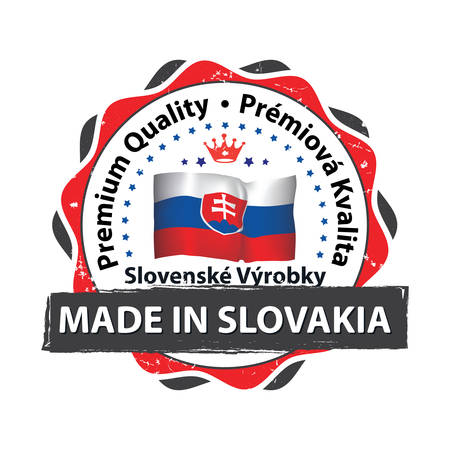 Made in Slovakia, Premium Quality, because we care - grunge printable label with Slovakian  flag on the background.  CMYK colors used. Illustration