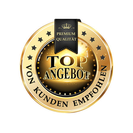 voted: Top offer, Quality Guarantee, by consumers voted (German Language: Top Angebot, Premium Qualitat, von kunden empfohlen) - business sales elegant ribbon for German retail companies