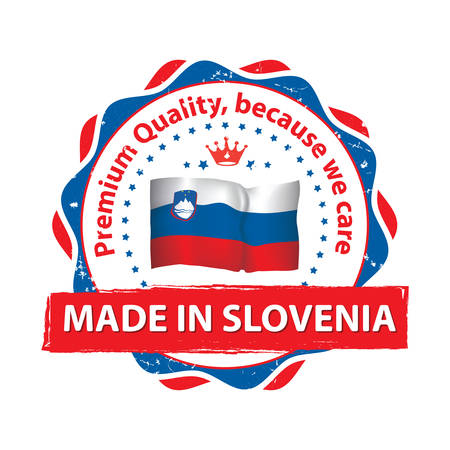 Made in Slovenia, Premium Quality, because we care - grunge printable label with Slovenian flag on the background.  CMYK colors used.
