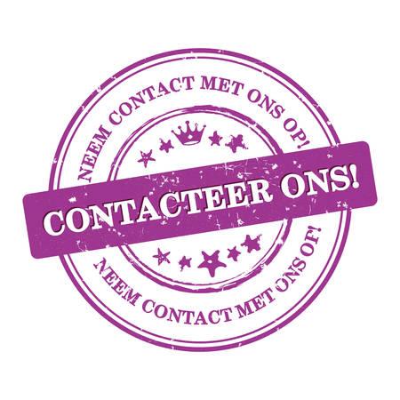 Neem contact met ons op! Nederlandse taal: Contacteer ons! Neem contact op met ons op - label  sticker  teken  pictogram, ook voor afdrukken Stock Illustratie