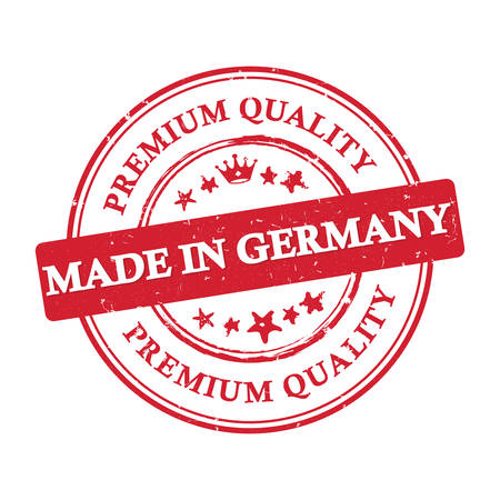 Premium Quality, Made in Germany - grunge stamp / label, also for print. Contains the flag colors .