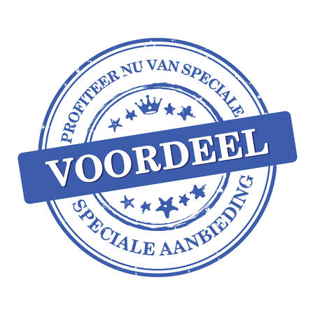 Profit now for special discounts. We offer special offer (Profiteer nu van speciale voordeel. Speciale aanbieding) - Dutch business stamp  label  sticker for retail industry . Print colors used