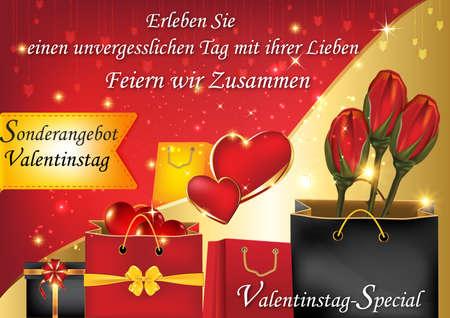 unforgettable: Valentines Day special offer. Enjoy it with us an unforgettable Valentines Day!  (German: Erleben sie einen unvergesslichen Tag mit ihrer Lieben. Feiern wir Zusammen). Format A3 Stock Photo
