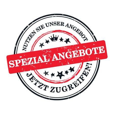 우리의 특별한 제안을 즐기십시오. 지금 사세요! - 독일 비즈니스 인쇄용 라벨  스탬프  스티커 (인쇄물 스티커, Spezial Angebote, Jetzt Zugreifen) 인쇄 색상 (