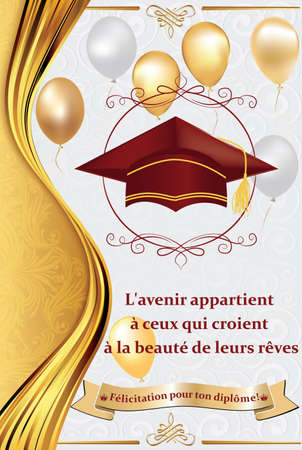 French graduation greeting card: Congratulations on your graduations! Print colors used