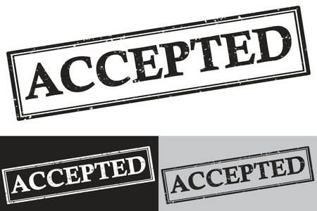 accepted label: Accepted - black rubber stamp label.  Grunge design with dust scratches. Grunge layer is applied exactly on the colored stamp. Color is easily change.