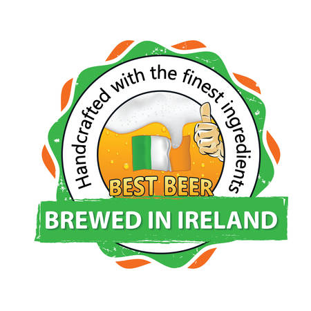 irish pub label: Best beer, brewed in Ireland, Handcrafted with the finest ingredients - business stamp for catering, pubs, restaurants. Beverage advertising with thumbs up, beer, Irish flag. Print colors used.