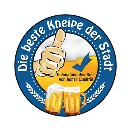 Die beste Kneipe der Stadt: German Beer Advertising (The best pub in the city, high quality bear) sticker  label advertising for pubs, clubs, restaurants and breweries. Print colors used.