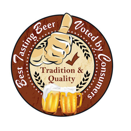 Best tasting beer, voted by Consumers. Tradition and quality. Try it yourself - sticker  label advertising for pubs, clubs, restaurants and breweries. Print colors used. Illustration