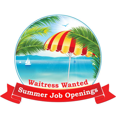 Summer Job opening - Waitress wanted- job vacancy stamp with tropical view: Palm trees, beach umbrella, seaside. Label for companies  Employers That are looking for seasonal employees Print colors
