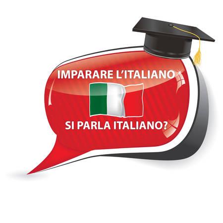 Learn Italian. Do you speak Italian (imparare l'italiano Si parla Italiano.?) - Italian speechbubble / sticker / sign / icon with the flag of Italy. Vettoriali