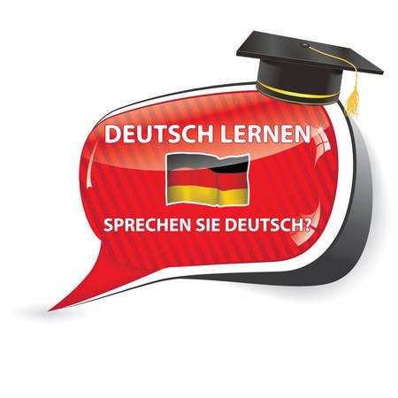 Deutch lernen. Sprechen sie Deutch? - German speechbubble (Do you speak German Learn German?) / Sticker / sign / icon with graduation cap and the flag of Germany, usefull for print Vettoriali