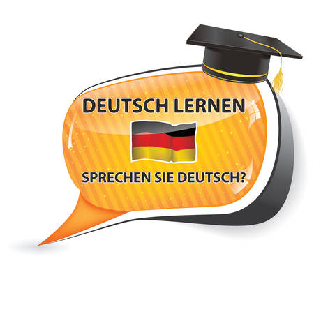Deutch lernen. Sprechen sie Deutch? - German speech bubble (Do you speak German Learn German?) / Sticker / sign / icon with graduation cap and the flag of Germany, usefull for print