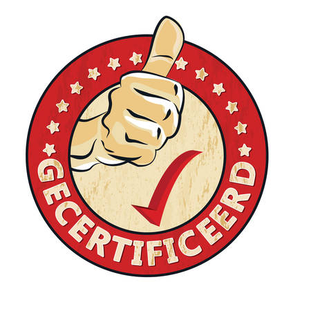 Certified (Certified - Dutch language) - grunge stamp  sticker  label with thumbs up. Print colors used Illustration