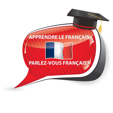 Learn French - (Apprendre le Francais, Parlez vous Francais?) SpeechBubble  sticker  sign  icon with the flag of France, usefull for print Illustration