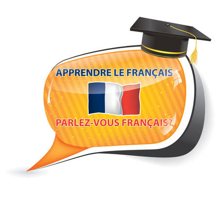 francais: Learn French - (Apprendre le Francais, Parlez vous Francais?) Speechbubble  sticker  sign  icon with the flag of France, usefull for print