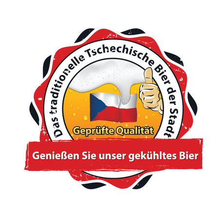 Traditional Czech Rep bear form. High quality beer - (German language) Printable business retail stamp  sticker for breweries, pubs, restaurants. Contains Czech flag and thumbs up