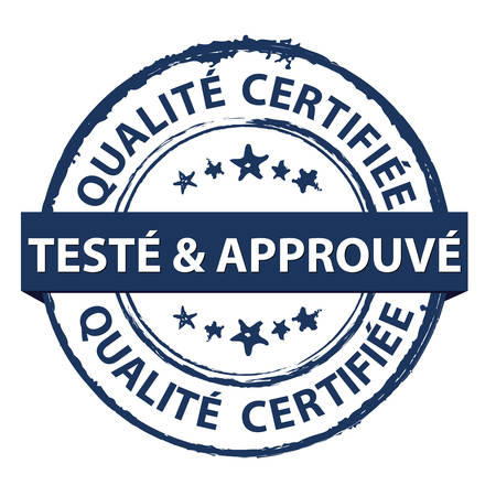 Tested and Approved. Quality certified - French sticker  stamp  label (Teste & approuve Qualite Certifiee.) Print colors used