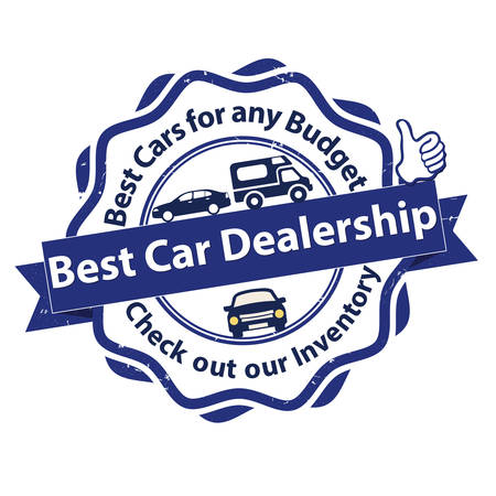 Best Car dealership. Best cars for any budget. Check out our inventory - grunge business stamp. Print colors used Illustration