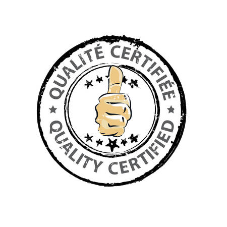 Quality certified - stamp in two languages: English and French (Qualite certifiee) - business grunge label / sticker with thumbs up. Print colors used Vettoriali