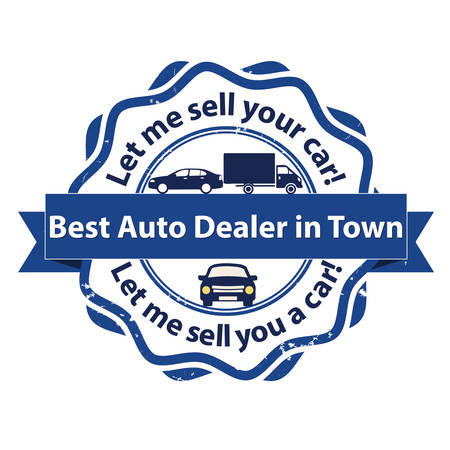 Best car dealership in town. Let me sell your care! Let me sell you a car! - Business stamp for vehicles industry. Print colors used